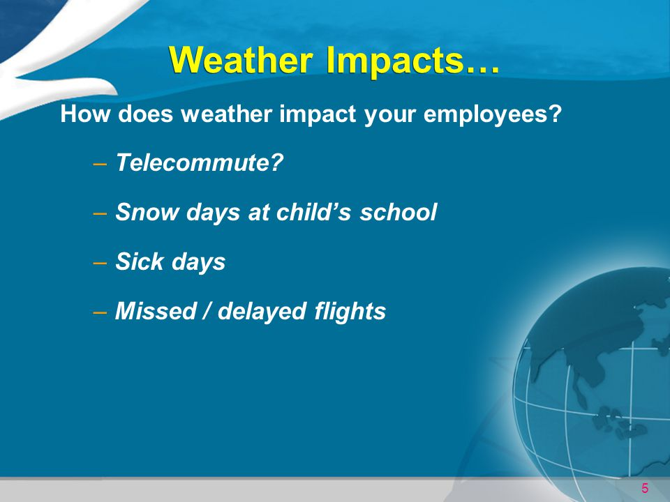 Weather Impacts… How does weather impact your employees Telecommute