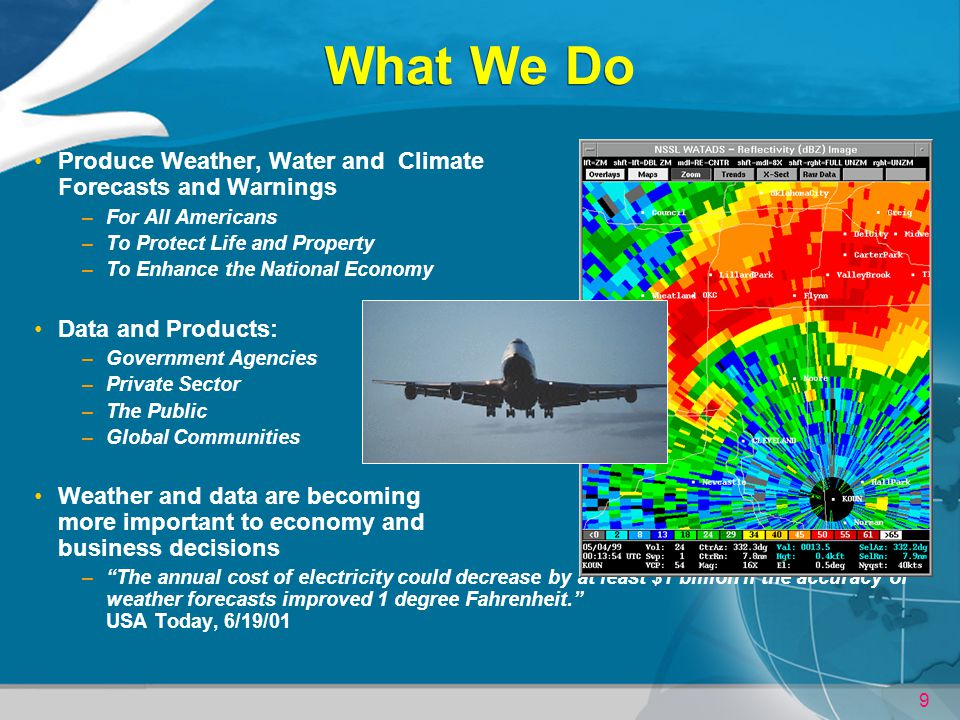 What We Do Produce Weather, Water and Climate Forecasts and Warnings