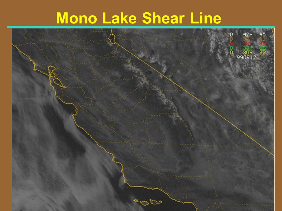Mono Lake Shear Line Visible Satellite Imagery for 530 PM PDT 6/13/99 (0045Z 6/14/99)