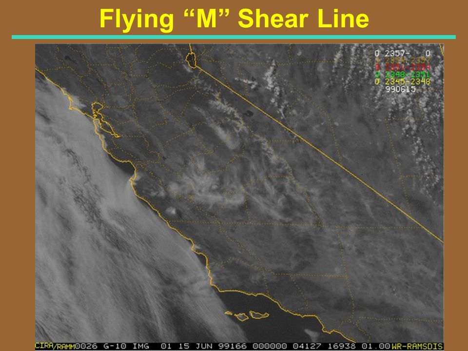 Flying M Shear Line Visible Satellite Image for 5 PM PDT 6/14/99 (0000Z 6/15/99)