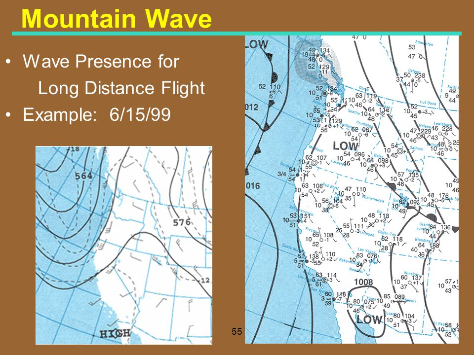 Mountain Wave Wave Presence for Long Distance Flight Example: 6/15/99