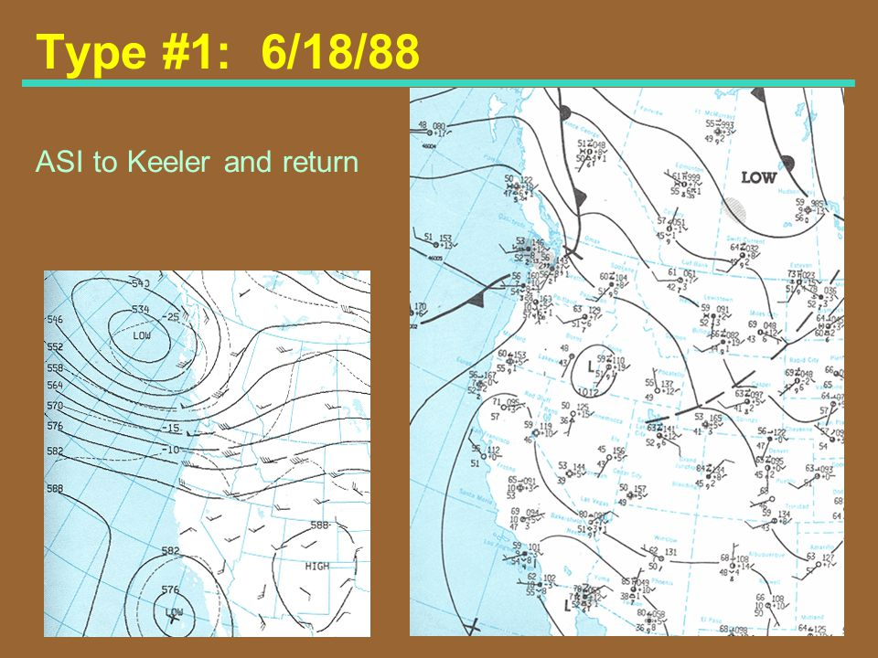 Type #1: 6/18/88 ASI to Keeler and return Map Type #1: June 18, 1988