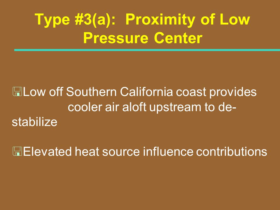 Type #3(a): Proximity of Low Pressure Center