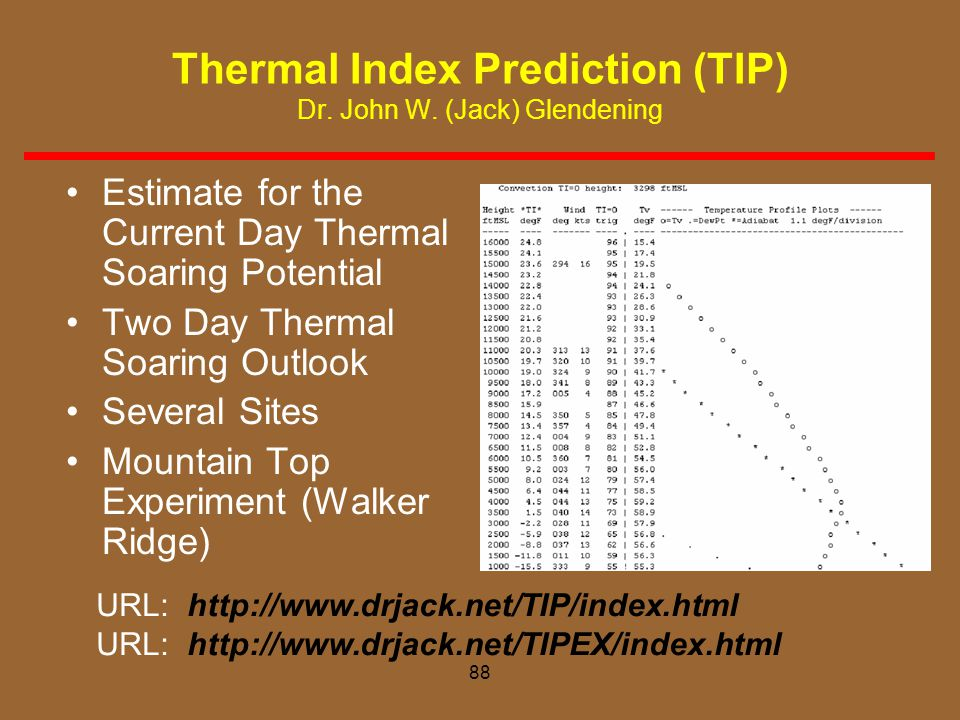 Thermal Index Prediction (TIP) Dr. John W. (Jack) Glendening