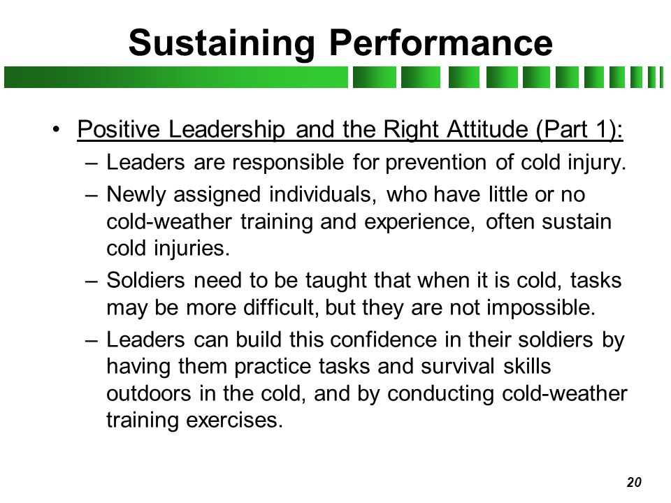 Sustaining Performance