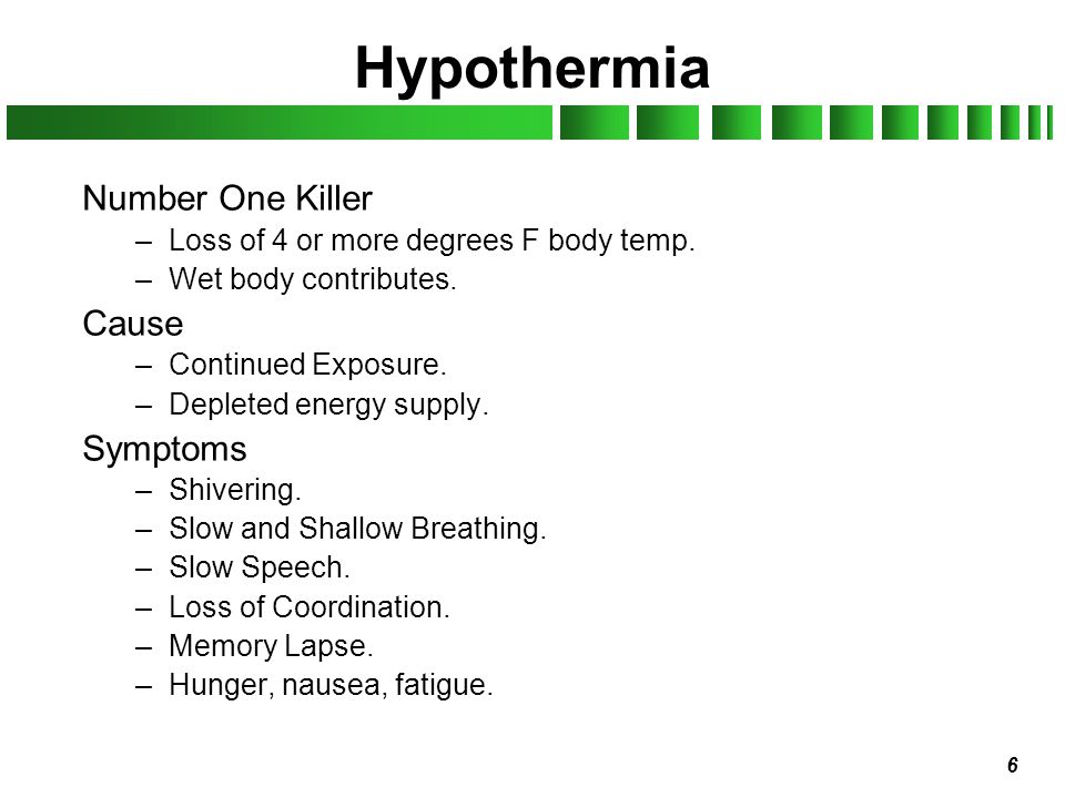 Hypothermia Number One Killer Cause Symptoms