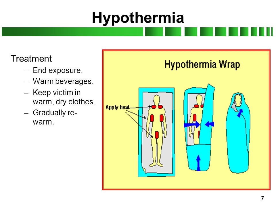 Hypothermia Treatment End exposure. Warm beverages.