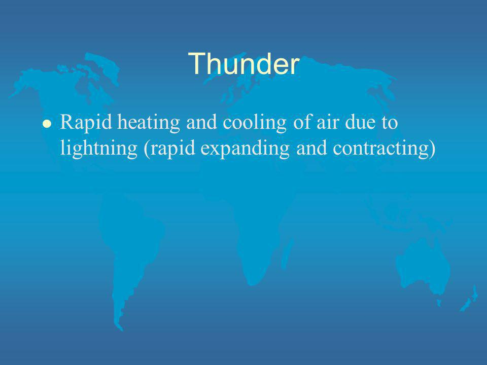 Thunder Rapid heating and cooling of air due to lightning (rapid expanding and contracting)