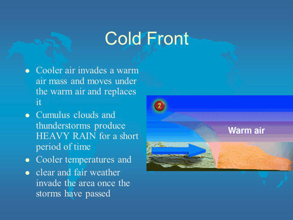 Cold Front Cooler air invades a warm air mass and moves under the warm air and replaces it.