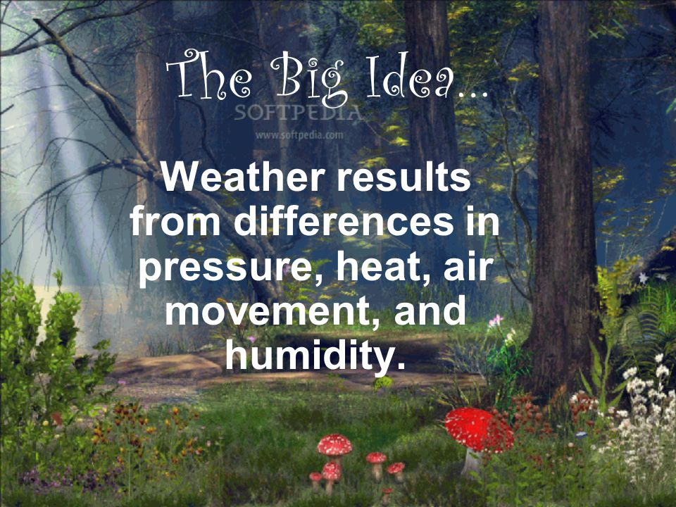 The Big Idea… Weather results from differences in pressure, heat, air movement, and humidity.