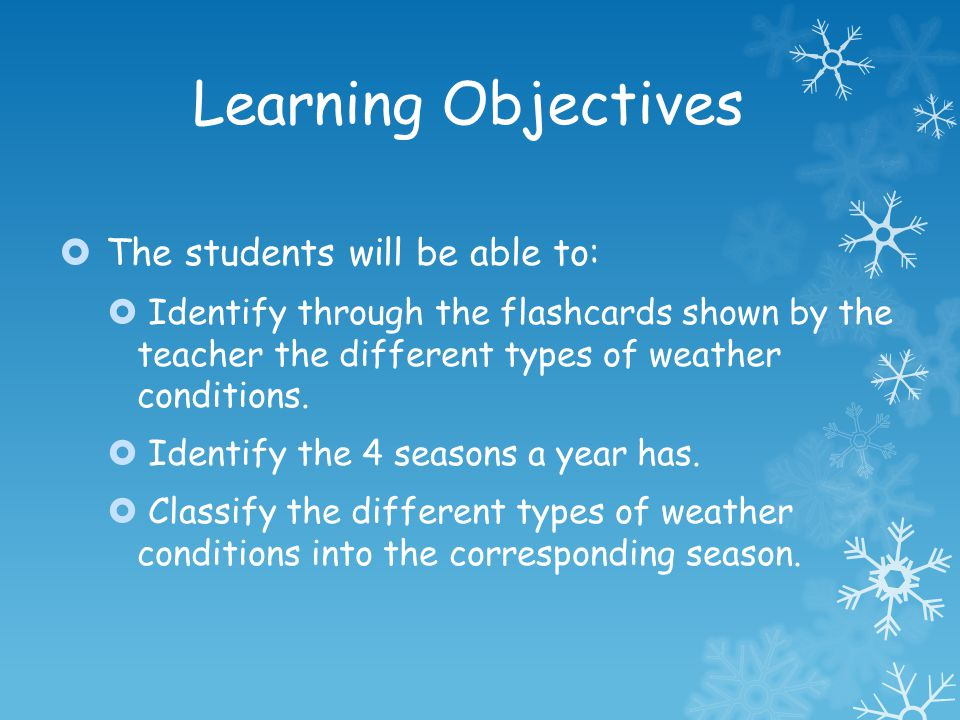 Learning Objectives The students will be able to: