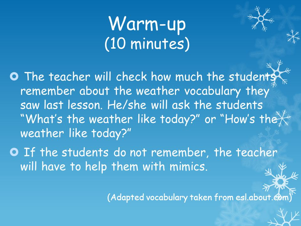 Warm-up (10 minutes)