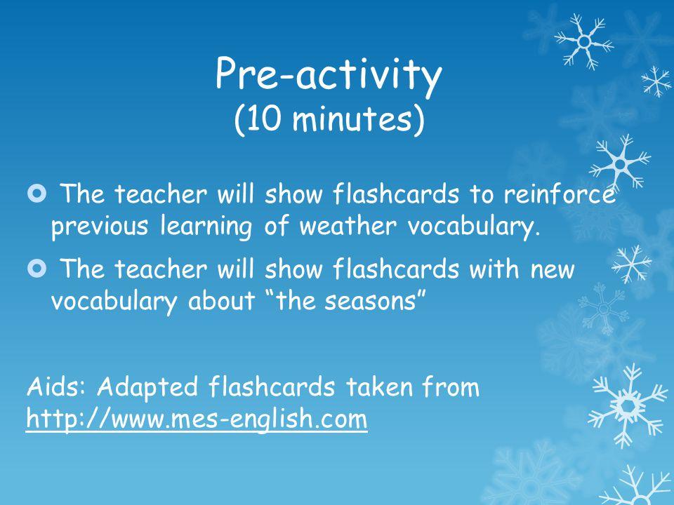 Pre-activity (10 minutes)