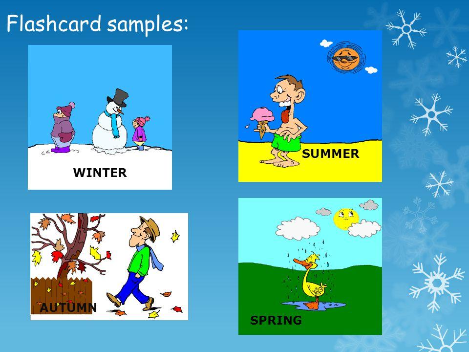 Flashcard samples: SUMMER WINTER AUTUMN SPRING