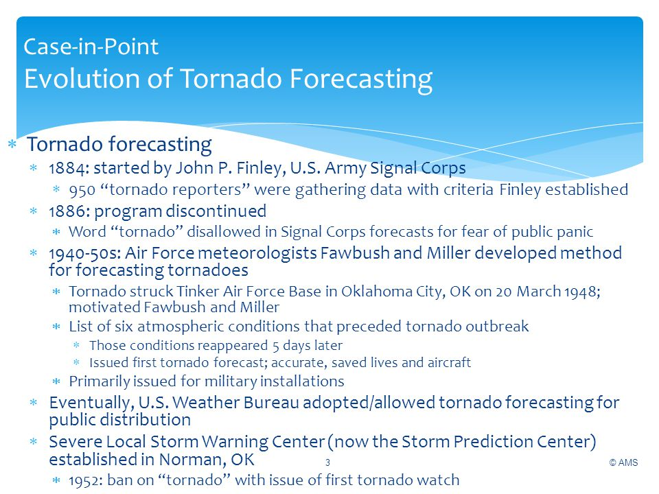 Case-in-Point Evolution of Tornado Forecasting