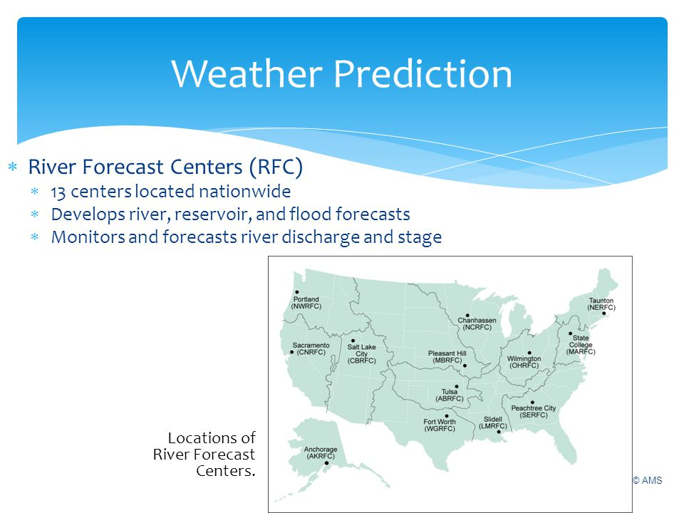 Weather Prediction River Forecast Centers (RFC)