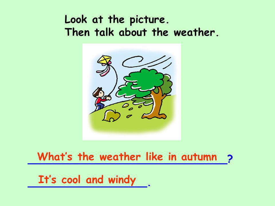 Look at the picture. Then talk about the weather. What's the weather like in autumn. ______________________________