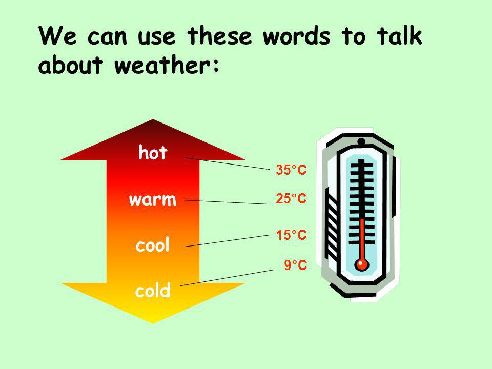 We can use these words to talk about weather: