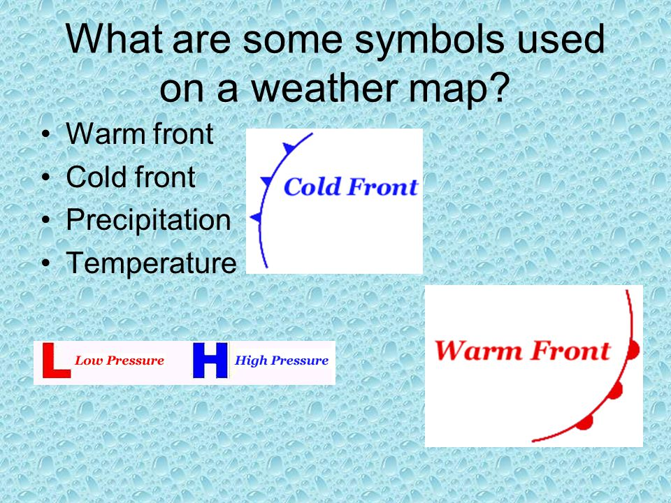 What are some symbols used on a weather map