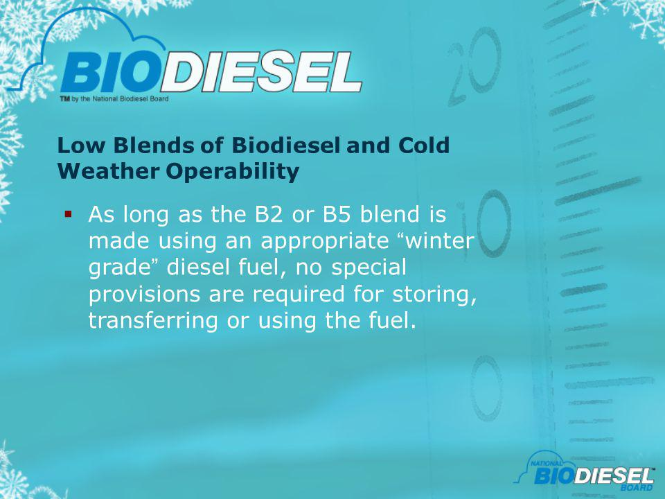 Low Blends of Biodiesel and Cold Weather Operability