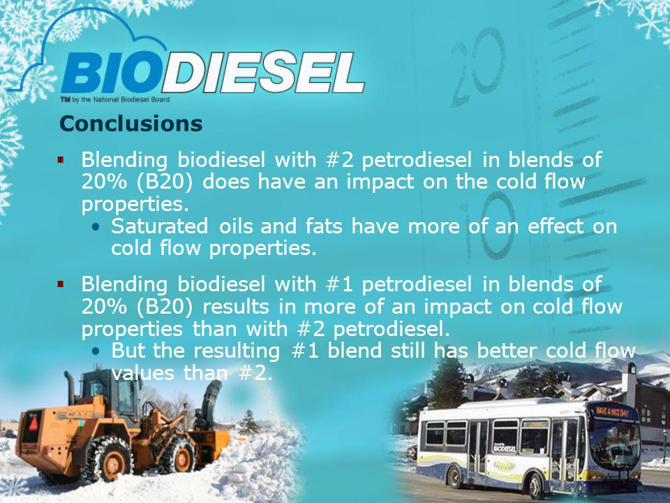 Conclusions Blending biodiesel with #2 petrodiesel in blends of 20% (B20) does have an impact on the cold flow properties.
