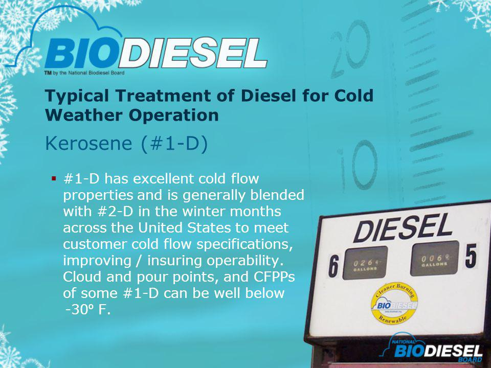 Typical Treatment of Diesel for Cold Weather Operation