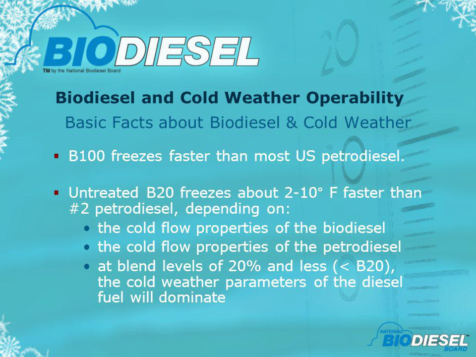 Biodiesel and Cold Weather Operability