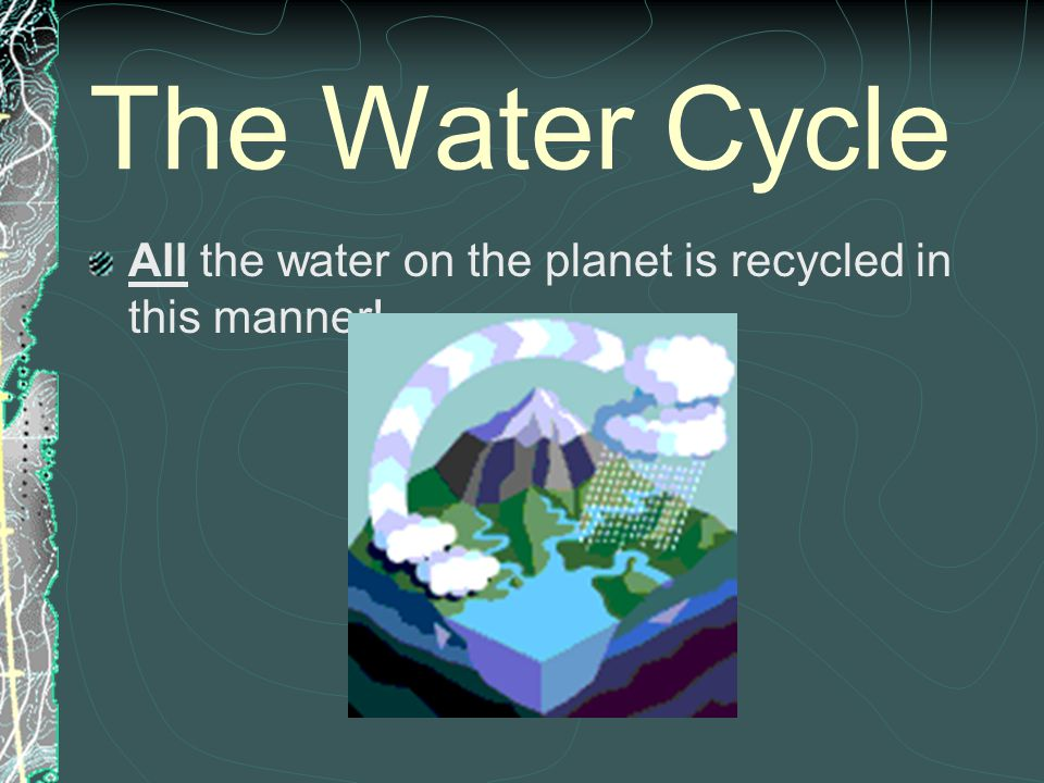 The Water Cycle All the water on the planet is recycled in this manner!