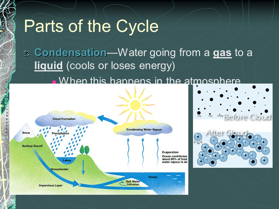Parts of the Cycle Condensation—Water going from a gas to a liquid (cools or loses energy) When this happens in the atmosphere, CLOUDS form.