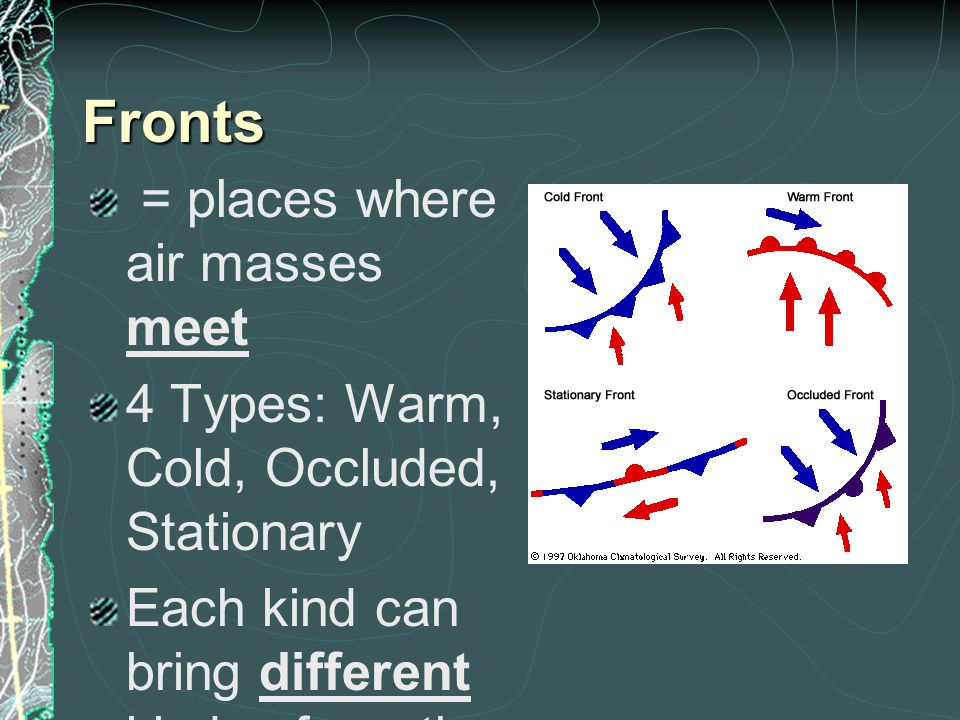 Fronts = places where air masses meet