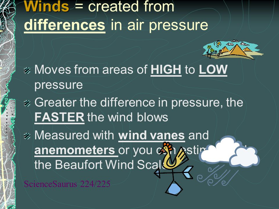 Winds = created from differences in air pressure