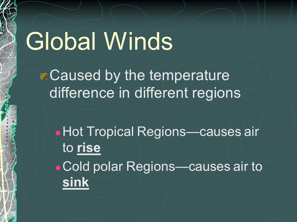 Global Winds Caused by the temperature difference in different regions