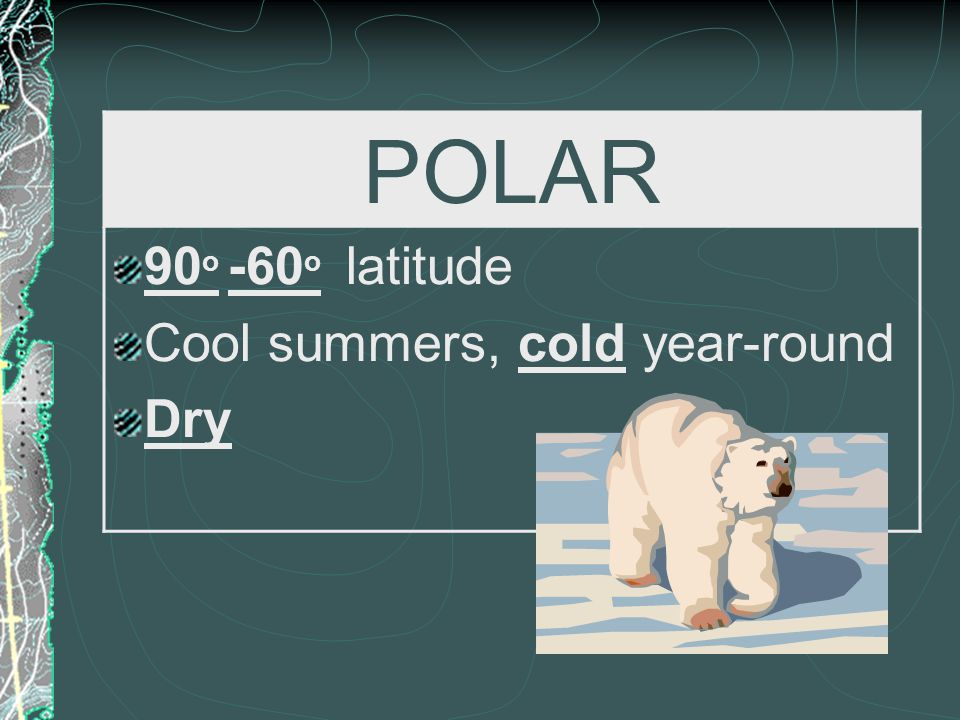 POLAR 90o -60o latitude Cool summers, cold year-round Dry