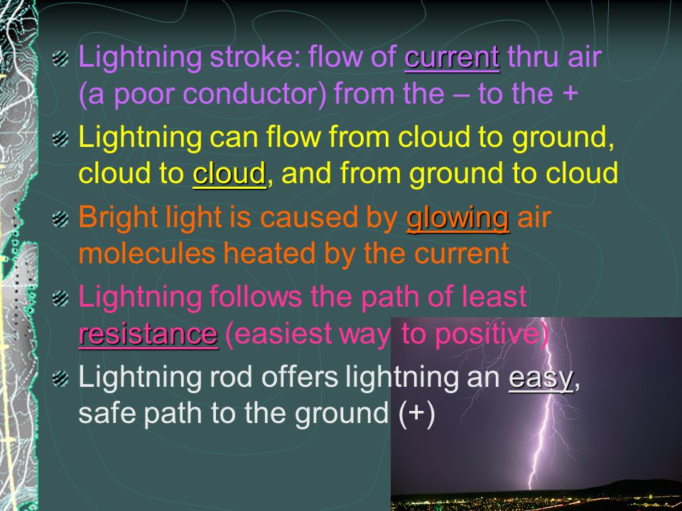 Lightning stroke: flow of current thru air (a poor conductor) from the – to the +