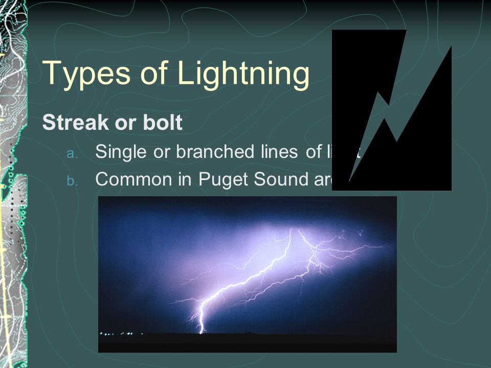Types of Lightning Streak or bolt Single or branched lines of light
