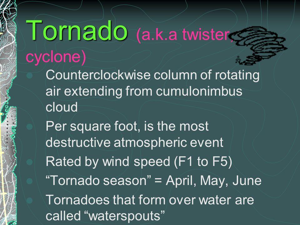 Tornado (a.k.a twister, cyclone)