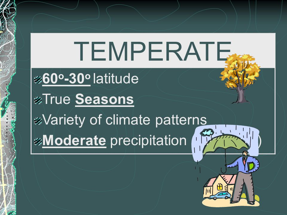 TEMPERATE 60o-30o latitude True Seasons Variety of climate patterns