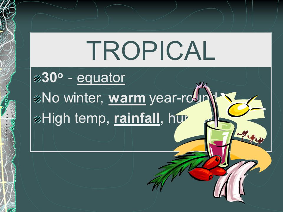 TROPICAL 30o - equator No winter, warm year-round