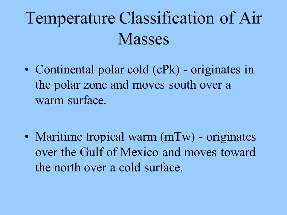 Temperature Classification of Air Masses