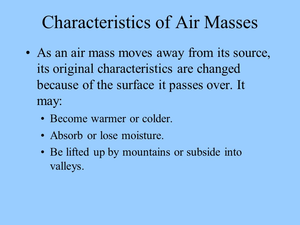 Characteristics of Air Masses