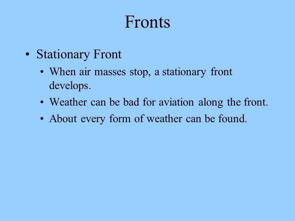 Fronts Stationary Front
