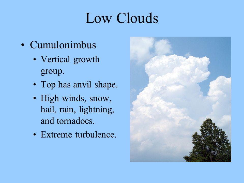 Low Clouds Cumulonimbus Vertical growth group. Top has anvil shape.