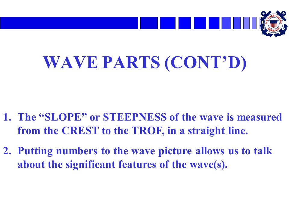 WAVE PARTS (CONT'D) The SLOPE or STEEPNESS of the wave is measured from the CREST to the TROF, in a straight line.