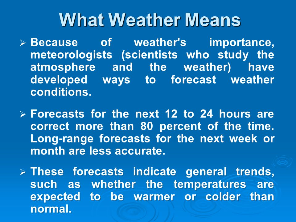 What Weather Means