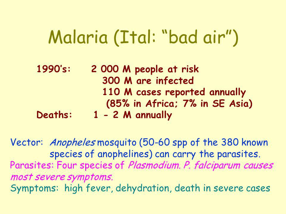 Malaria (Ital: bad air )