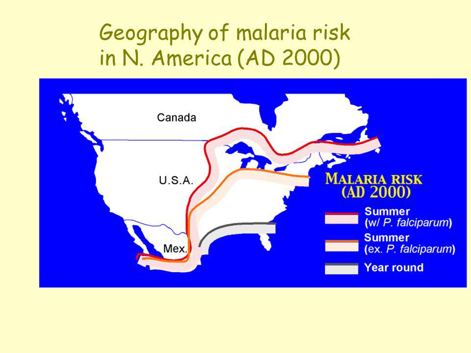 Geography of malaria risk in N. America (AD 2000)