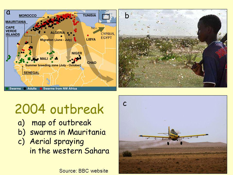 2004 outbreak a b c map of outbreak b) swarms in Mauritania