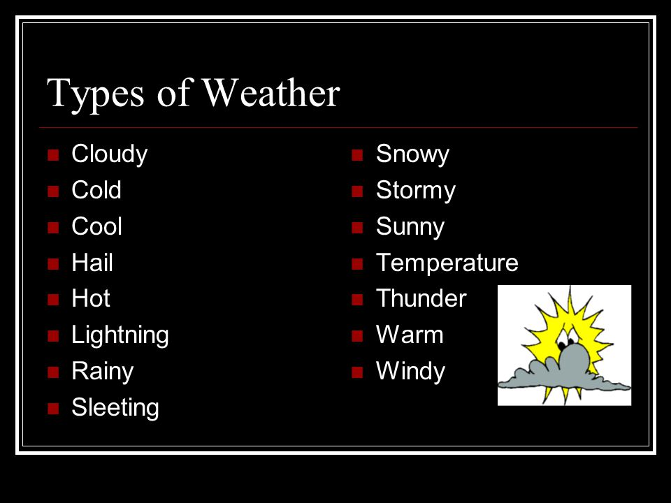 Types of Weather Cloudy Cold Cool Hail Hot Lightning Rainy Sleeting