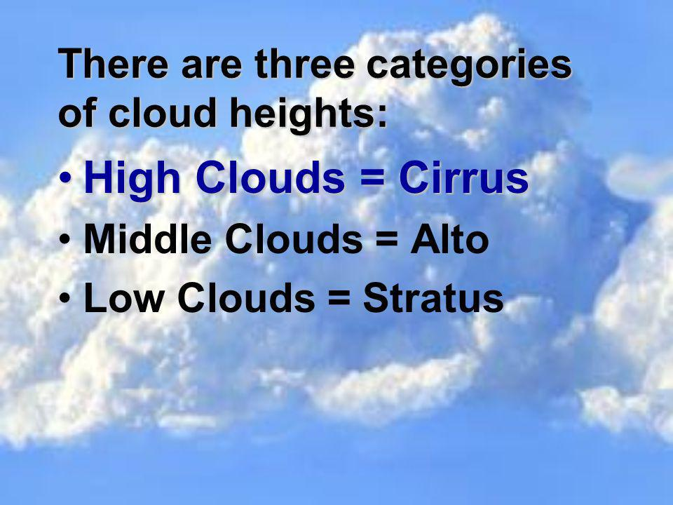 There are three categories of cloud heights: