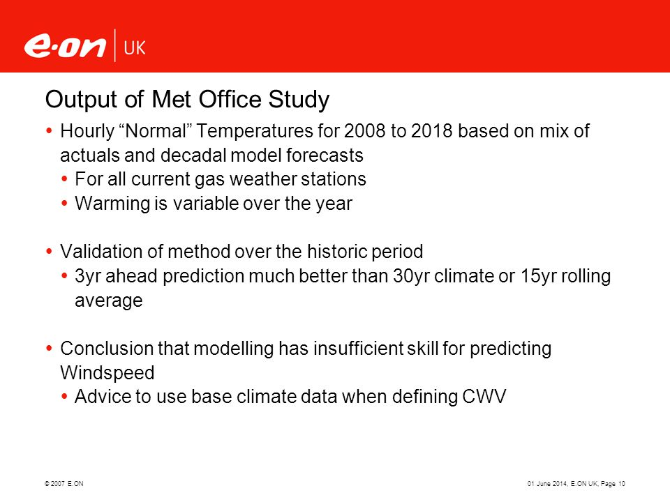 Output of Met Office Study